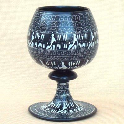 画像2: ヒッタイト柄ワインカップ(大)ブラック