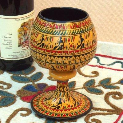 画像1: ヒッタイト柄ワインカップ(大)イエロー