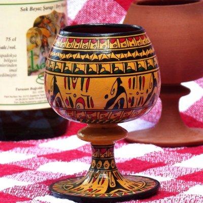 画像1: ヒッタイト柄ワインカップ(小)イエロー