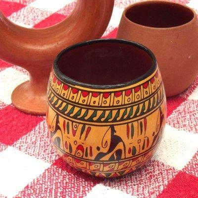 画像1: ヒッタイト柄ワインカップ(ミニ)イエロー