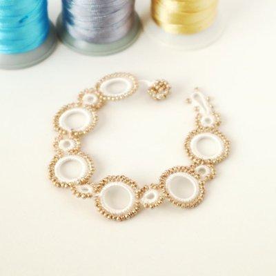 画像1: ブレスレット「リング」ホワイト&ゴールド