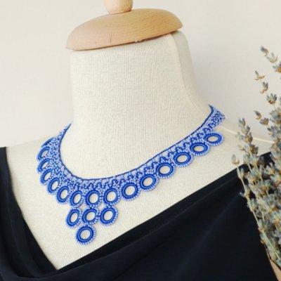画像1: ネックレス「ビブ・リング」サファイア・ブルー